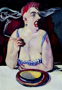 kobieta paląca papierosa by stanislaw frenkiel