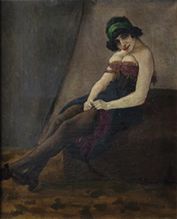 jeune femme assise by ernest marneffe