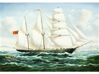 three-masted sailing vessel off the coast by john williamson