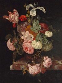 a still life with roses, an iris, a tulip and other flowers in a vase resting on a ledge by cornelis kick