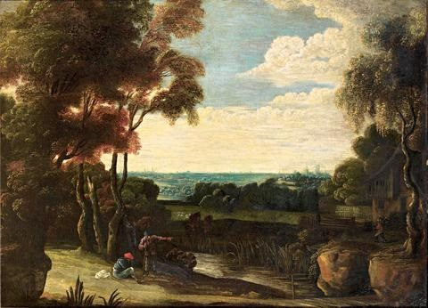 an extensive landscape with figures resting beside a river by jacques d arthois