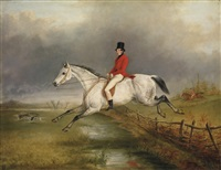a master of the royal buckhounds on a grey hunter by george henry laporte