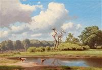 idyllic landscape with stork's nest by heinrich buntzen