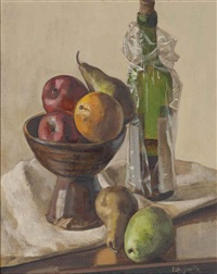 still life with apples, pears, orange and wine bottle by hughie lee-smith