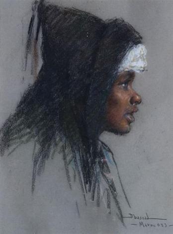 portrait de marocaine de profil au burnous by carlos abascal