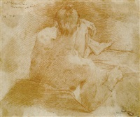 a seated nude from behind by flaminio torre