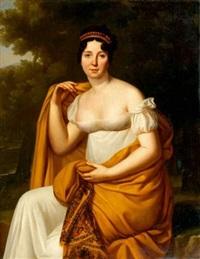 portrait de femme au châle jaune by julie volpelière