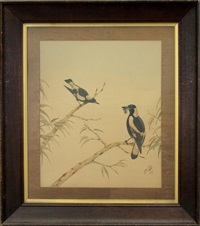 two magpies, one with millipede by neville henry peniston cayley