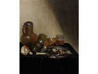 a still life of a pewter-mounted stoneware jug, an overturned roemer, a broken roll of bread, a candle in a brass stand, a glass beaker of beer, a pewter dish with fish and a knife with ivory handle on a draped table-top by guilliam gabron