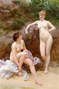 zwei mädchen nach dem bade by vlacho bukovac