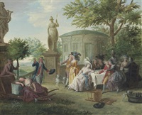 elegant figures dining in a garden amongst classical sculptures, a rotunda beyond by niklas lafrensen the younger
