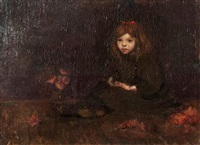 seated girl with red flowers by philip leslie hale