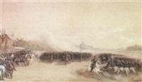 revue du duc d'aumale au champs de mars by louis eugène ginain