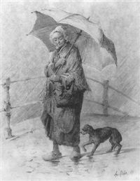 vrouw in de regen by august allebé