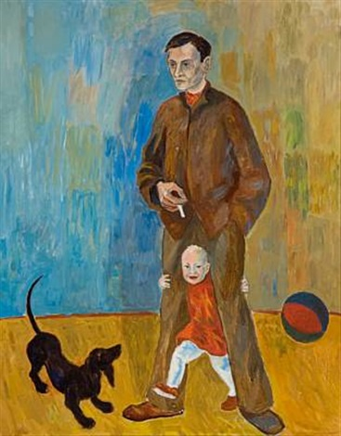 selvportrett med datteren nina katarina by reidar aulie