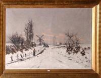 paysage animé sous la neige by frans van damme
