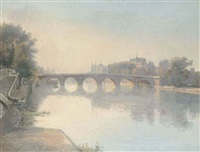 dusk on the seine before the pont neuf, paris by wilhelm andersen