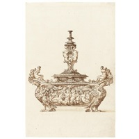 design for an elaborate covered salt cellar by jacopo strada