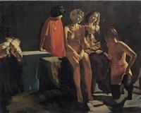 groupe de femmes en partie dénudées by tibor csernus
