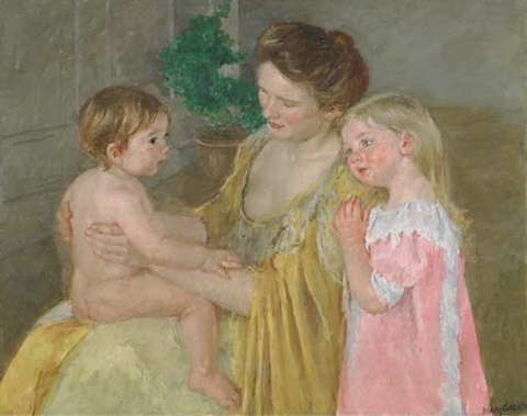 mother and two children by mary cassatt