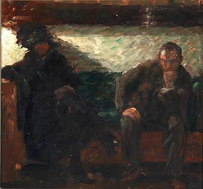 the painter niels hansen and mrs. yrsa lundstrøm, married to painter vilhelm lundstrøm, sitting on a sofa by julius paulsen