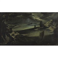view of a harbor in stormy weather by filippo d' angeli
