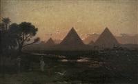 pyramiderna i gizeh med figurer i nilens deltaområde by georg von rosen