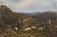 shepherds with their flock in a mountainous landscape by william linnell