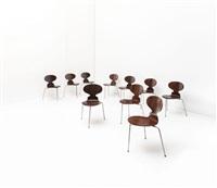 suite de dix chaises modèle ant - 3100 by arne jacobsen