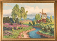 summer landscape with a windmill by czeslaw znamierowski
