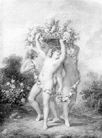 les trois grâces supportant une corbeille de fleurs sur laquelle est couché l'amour by francois (marie isod.) queverdo