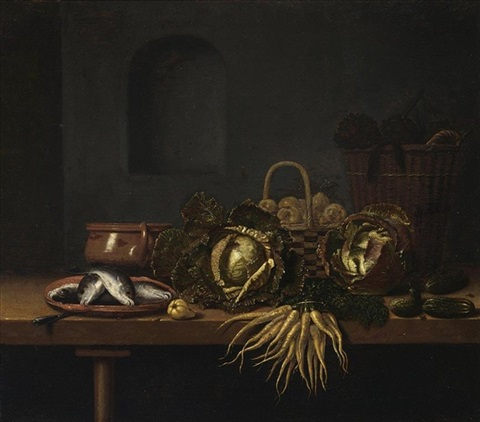a still life with cabbages carrots gherkins fish on an earthenware plate an earthenware pot and two baskets with artichokes and pears all on a wooden table with a pear by hubert van ravesteyn