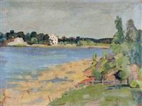 berges du fleuve et maison blanche by armas mikola