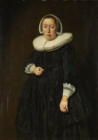 porträtt av kvinna i svart by dirck dircksz van santvoort