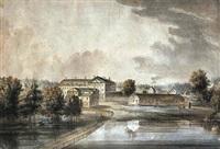 utsikt från kaptensudden på djurgåden mot fredrikshovs slott by jonas carl linnerhielm
