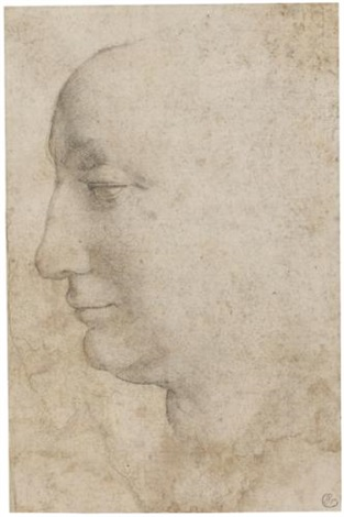 head of a woman seen in profile looking to the left by agnolo bronzino