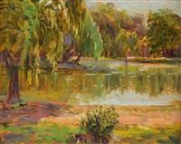 paisaje con lago by alfredo lazzari