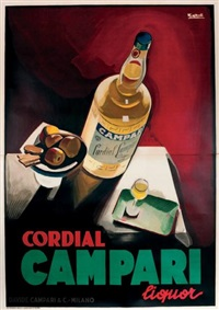 cordial campari, liquor (fond rouge) (on 2 joined sheets) by marcello nizzoli