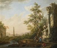 bergers se désaltérant au bord d'une rivière devant des ruines antiques by lorens (lars) gottman