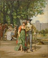 incroyable et merveilleuse au jardin des tuileries by léon joseph voirin