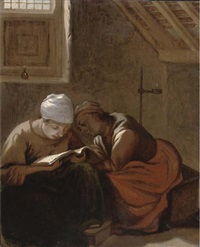 two women reading in an interior by harmen hals