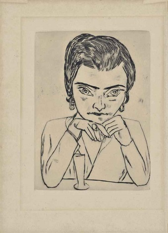 portrait of naila leaning on her arms with glass by max beckmann