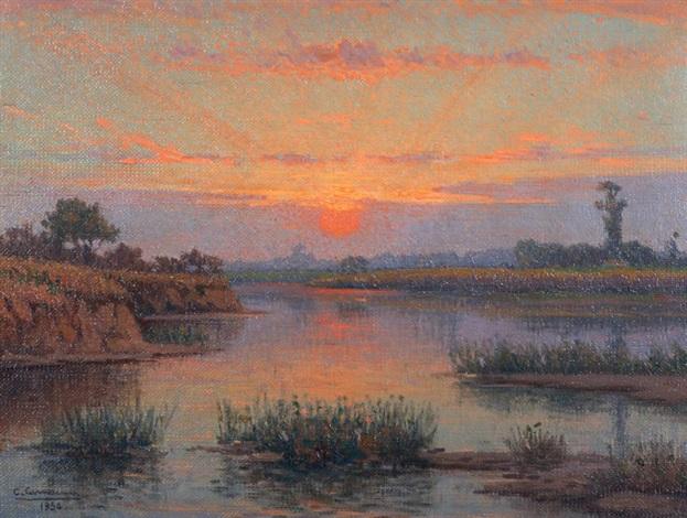 puesta de sol en la laguna by ceferino carnacini