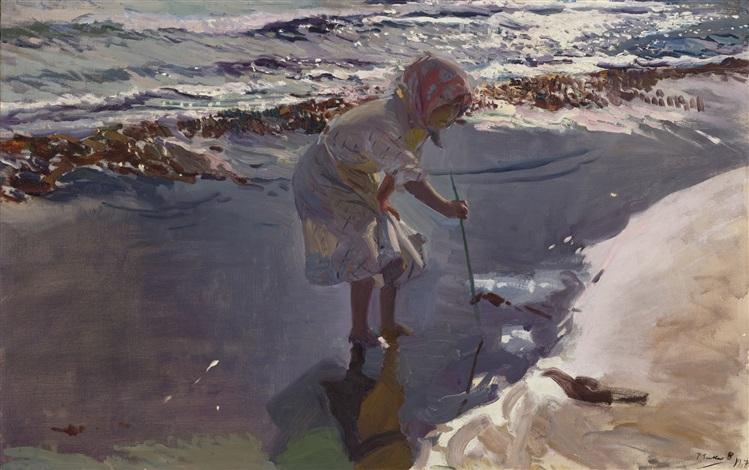 buscando mariscos playa de valencia by joaquin sorolla y bastida