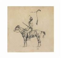 untitled (long distance riding) by frederic remington