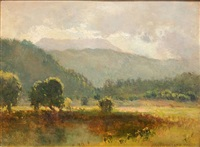 landscape with mountains in the distance by joseph de camp