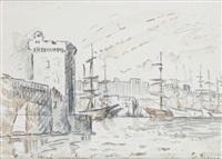 marseille, l'entrée du port et la tour saint-jean by paul signac