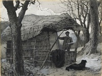 sketching under shed, winter in the country by edward frederick brewtnall