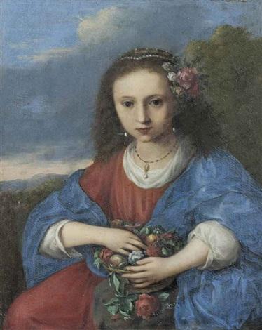 portrait of a girl as flora by cornelis van poelenburgh