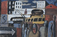 escena de ciudad con tranvía by augusto torres